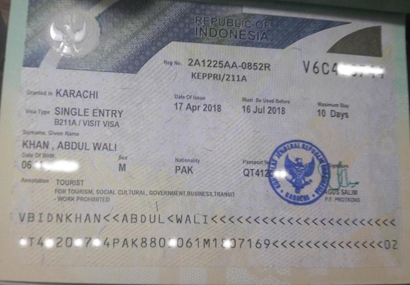Indonesia Visa Requirements for Pakistani Passport