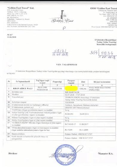 Uzbekistan visa invitation letter