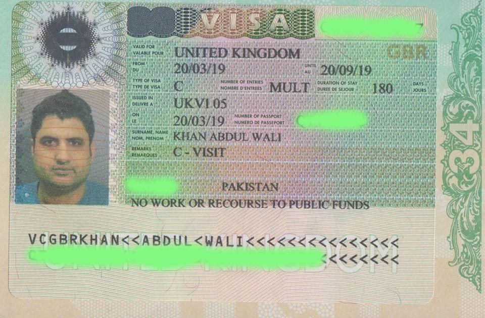 UK visa on Pakistani passport